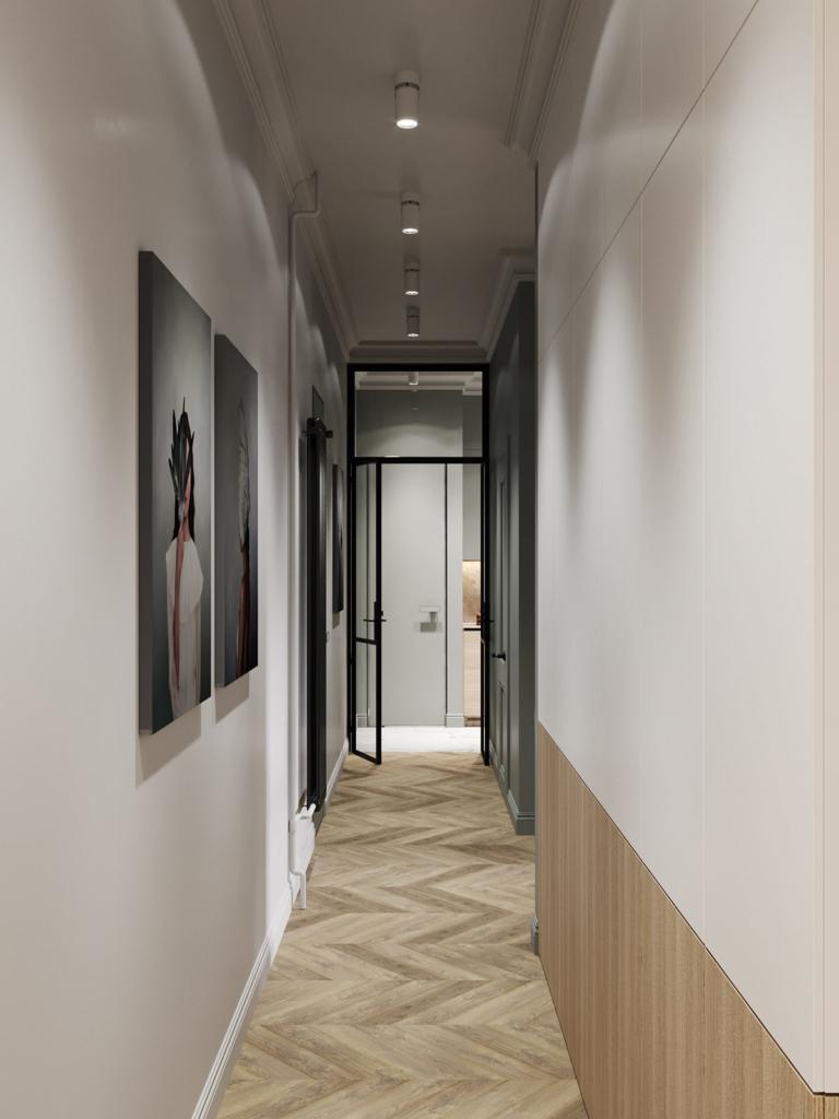 cartelle design, projekt wnetrza, pomysł na wnętrze, marmur, jodełka, sztukaterie