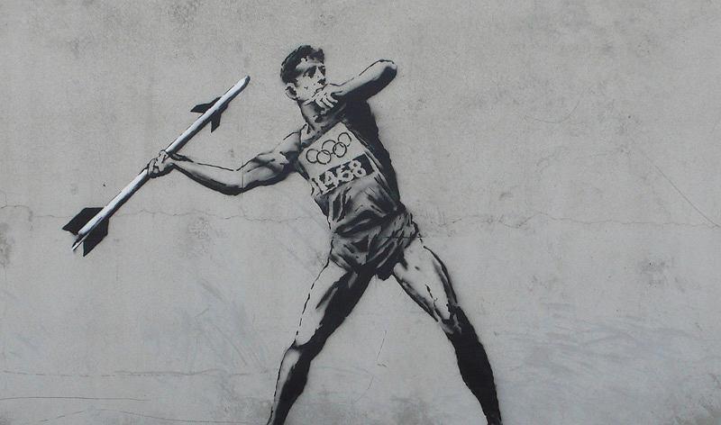 Banksy, Street Art, graffiti, sztuka, Bristol, Mona Lisa, Paryż, Monet
