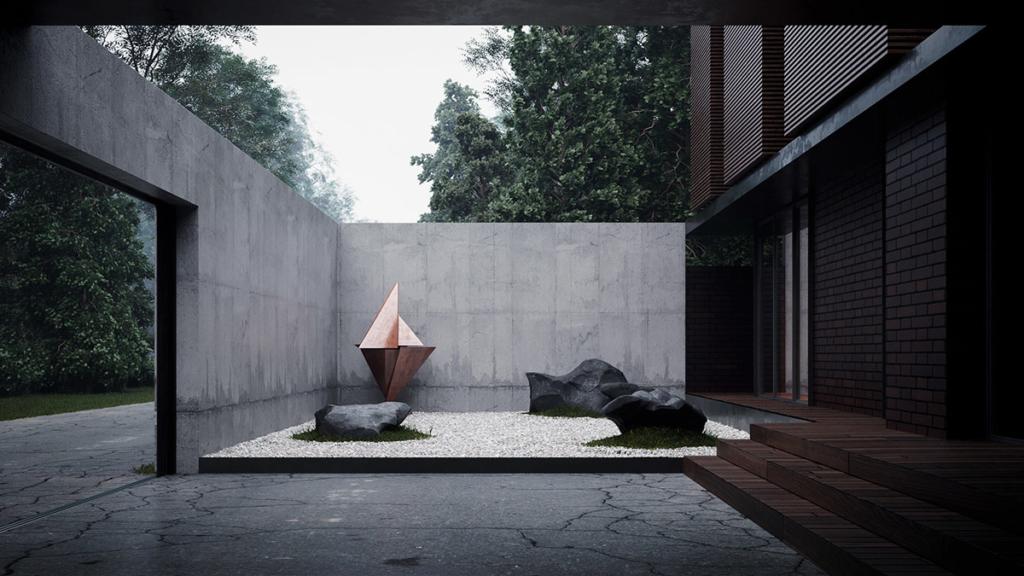 dom, architektura, zen, ogród, Japonia, Kijów